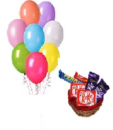 10 Air filled Balloons Chocolates Basket(2 Kikat 2 dairy Milk 2 Perk)