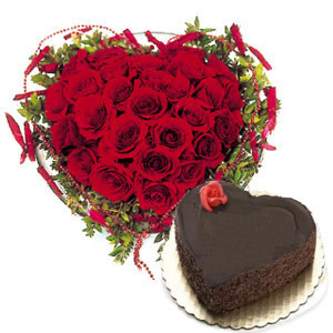 Heart Shaped Cake 1 kg+25 red roses Heart