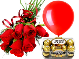 6 red roses 1 red balloon 16 Ferrero chocolates