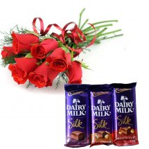 6 red roses bouquet with Three Cadburys Silk Chocolates