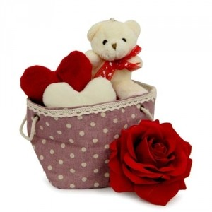2 Valentine hearts Teddy in basket with Single Red Rose