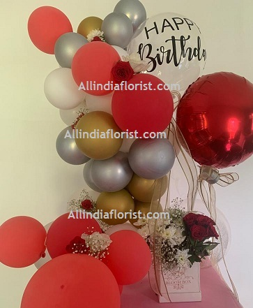50 White Red Gold Silver Balloons Air filled with happy birthday printed balloon 12 roses