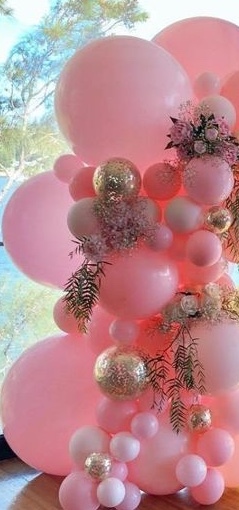 40 pink gold large and small balloons with golden painted leaves and flowers