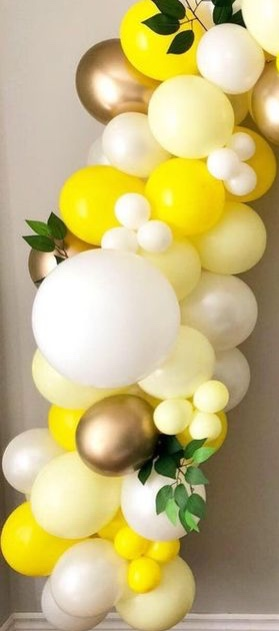 30 White and golden with yellow balloons with foliage