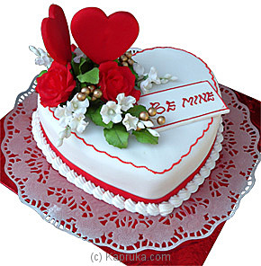 2 Small hearts with 1 Kg heart shape chocolate truffle white icing BE MINE- Flower bouquet delivery in Hyderabad