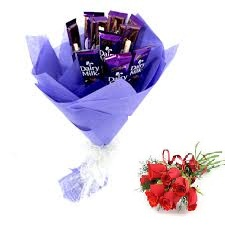 6 Dairy milk chocolate bouquet with 6 Red roses