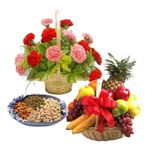 1/2 kg Dry fruits 12 flowers basket with fresh fruits 2 kg