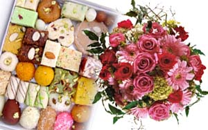 Half Kg Sweets and Bunch of 12 Assorted Flowers