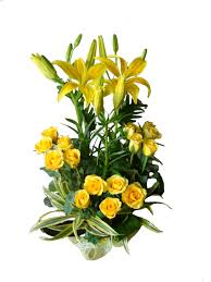 Yellow lilies yellow roses basket