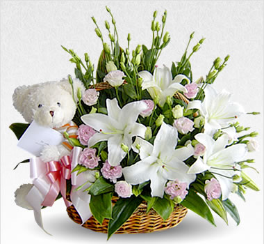 White Teddy Bear (6 inches) with white flowers basket