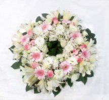 Pink white flowers Funeral Wreath