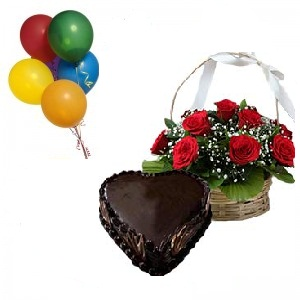 5 Air Balloons 1 Kg Heart Cake 12 Red Rose Basket