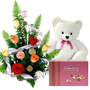 12 mix Roses Basket Teddy Celebration Box