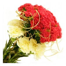 12 Yellow red carnations bouquet with fillers