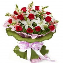 Red roses white lilies bouquet