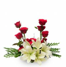 Red Roses and white Lilies in a Basket