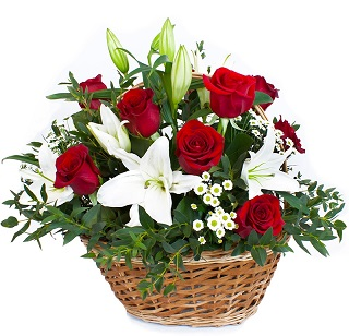 Exotic Arrangement White Liliums and red flowers