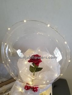 1 Red rose inside a transparent balloon with Red Wrapping and LED string lights