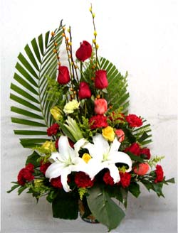 Large Arrangement of Roses and Liliums