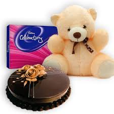 Celebration chocolate box with 1/2 Kg chocolate cake and Teddy bear 6 inches