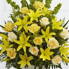 Large Arrangement of Yellow Liliums and yellow roses