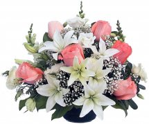 Pink Roses and White Liliums basket