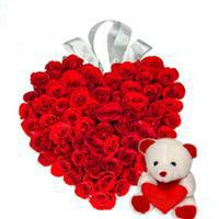 6 inch Teddy with 24 red roses heart