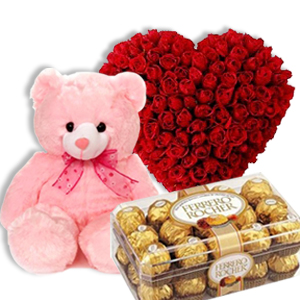 Heart of 24 red roses with Teddy and 16 Ferrero chocolates