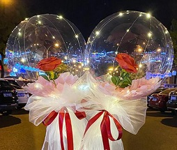Two red roses inside 2 transparent bubble balloons with string lights wrapped in white and red