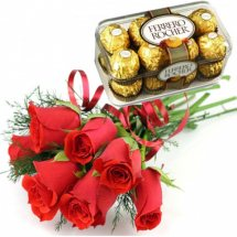 16 pieces box of ferrero rocher Chocolates + 6 Red Roses
