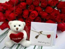 24 red roses bouquet 6 inches Teddy and Card