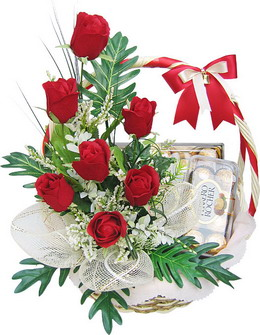6 Red roses and 16 Ferrero rocher chocolates