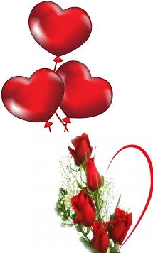 3 Red heart Air Balloons 5 Red Roses bouquet