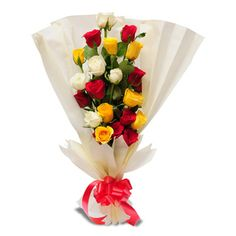 12 coloured roses bouquet with paper packing