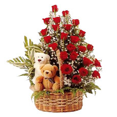 2 Teddies(6 inches each)+24 Red Roses in same Basket