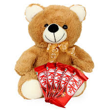 5 Kitkat chocolates with Teddy Bear (12 inches)