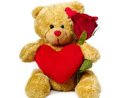 Single Red roses Brown Teddy 6 inches with Valentine red heart