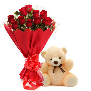 Dozen red roses with Teddy 6 inches