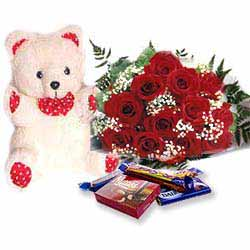 Teddy Soft Toy(6 inches) with a Dozen Roses and a Box of Cadbury Celebration Chocolates