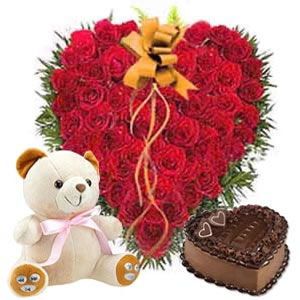 25 red roses Heart 6 inches Teddy 1/2 Kg Chocolate Cake