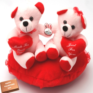 6 inches valentine heart with 2 Teddies