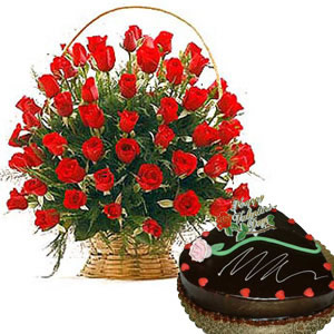 Half kg Cake + 24 red roses Basket