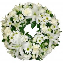 White Lilies White roses condolence Funeral Wreath